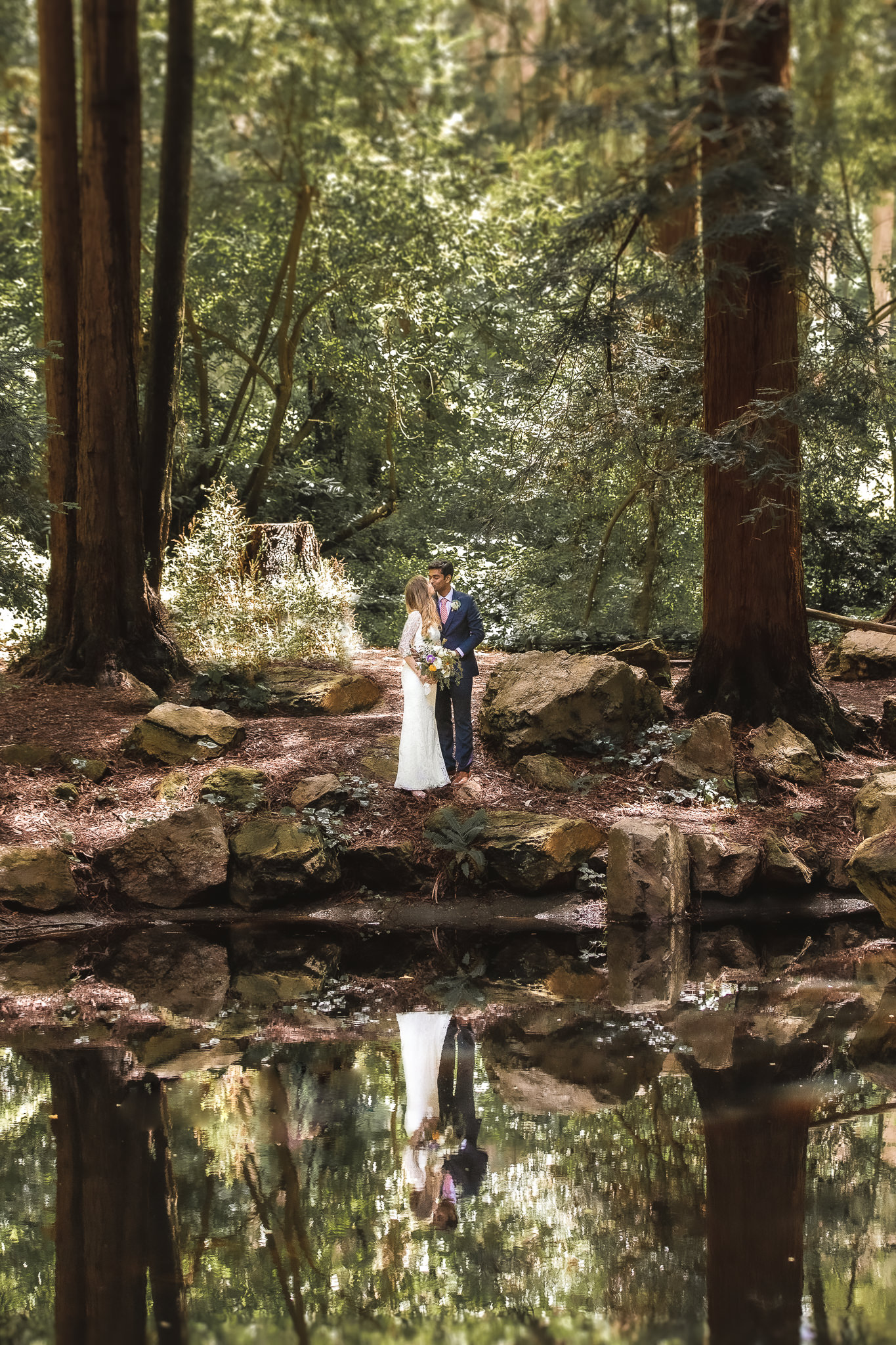 The clubhouse, also known as the Stern Grove Clubhouse, is surrounded by many opportunities for beautiful wedding photos, with tall redwood trees and a lake for awesome reflection photos.