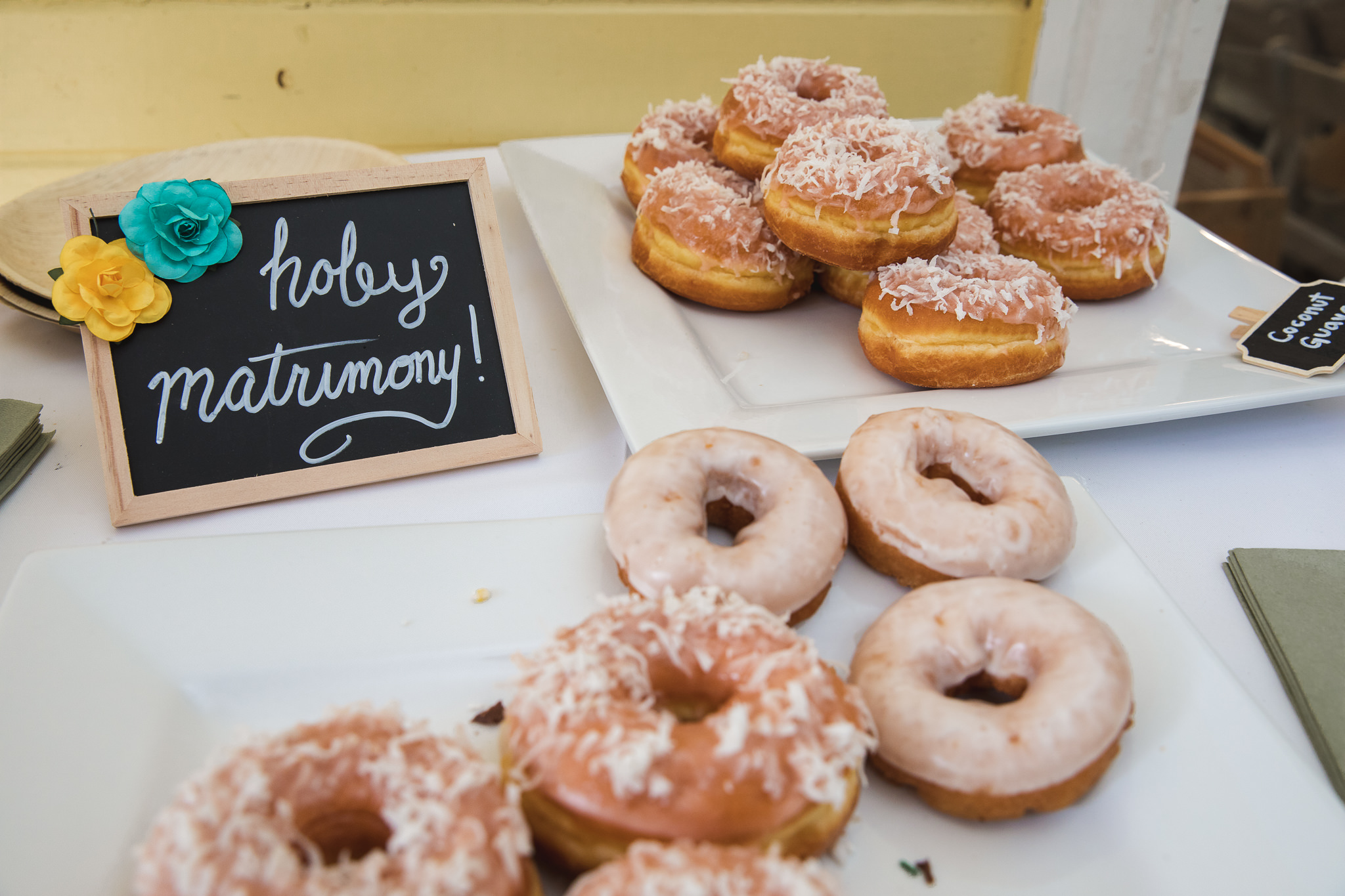 And finally, how can we not talk about donuts at a wedding? Sometimes they're better than cake. Sometimes having both is ok, too. You need to try all the flavors, it's for science. Thanks,  Twisted Donuts !