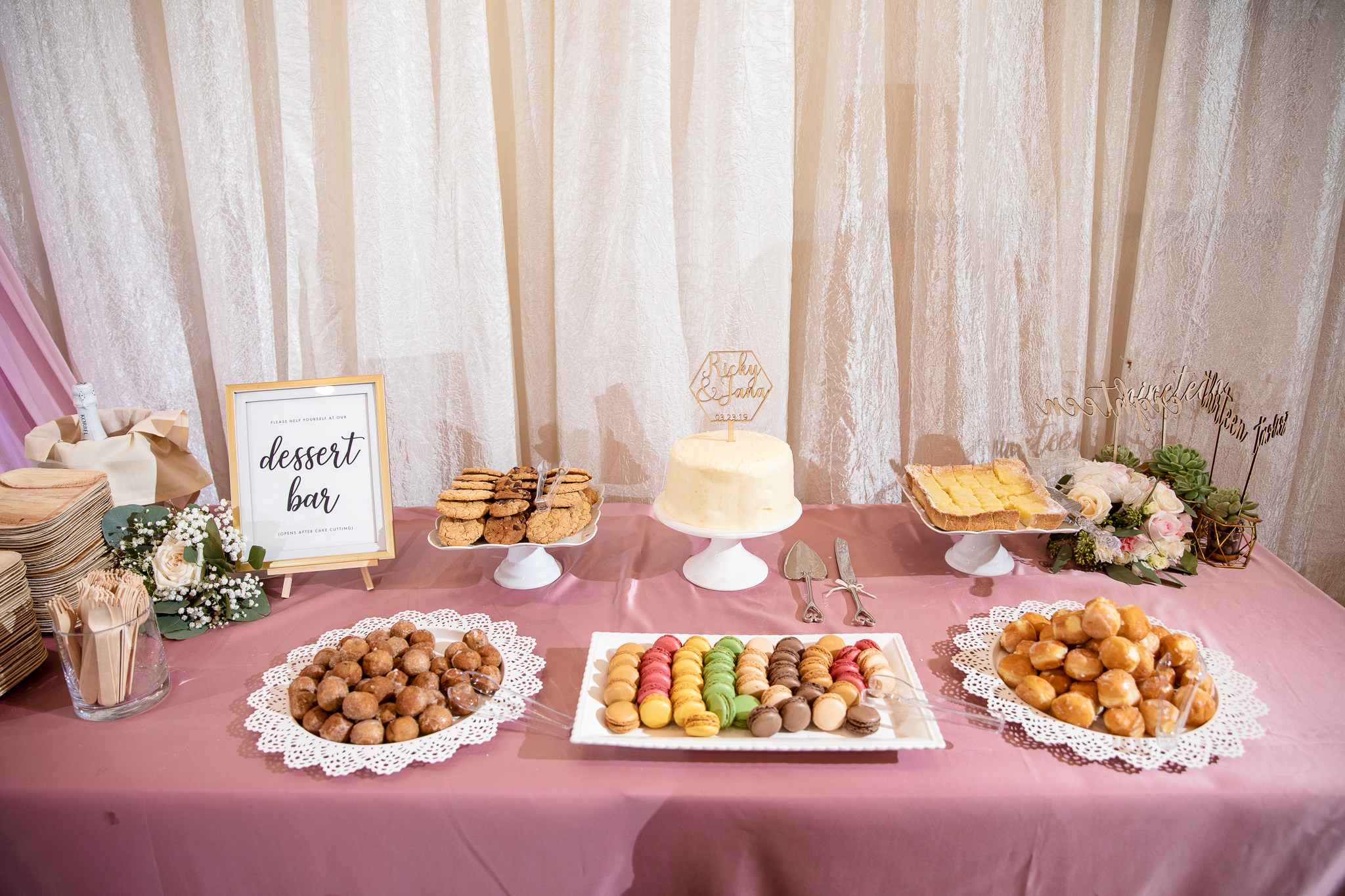 Dessert bars at wedding reception give guests a better variety of dessert options. The hard part was keeping guests from spoiling their appetites before dinner started, lol.