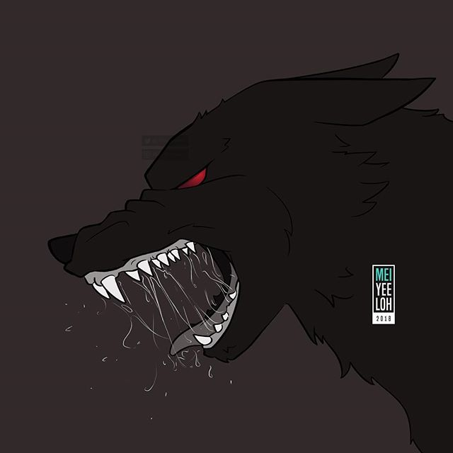 #Inktober2018 Day 6 - Drooling. Something simple. I wasn't feeling so good today and just wanted to do something easy. Also the prompt was hard to think of ideas 😔 But this doesn't look too bad though right? 🤞🏻 . #inktober #art #drawing #illustration #wolf #drooling #angry #dark #alpha