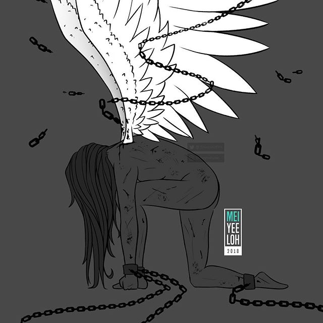 #Inktober2018 Day 11 - Cruel. ~ You are stronger than the limits of this cruel world 👊🏻 ~ I really love this one. Wanted to do something a bit positive with this prompt ❤️ . #inktober #art #drawing #illustration #cruel #chains #angel #wings #day11 #bestrong #hope