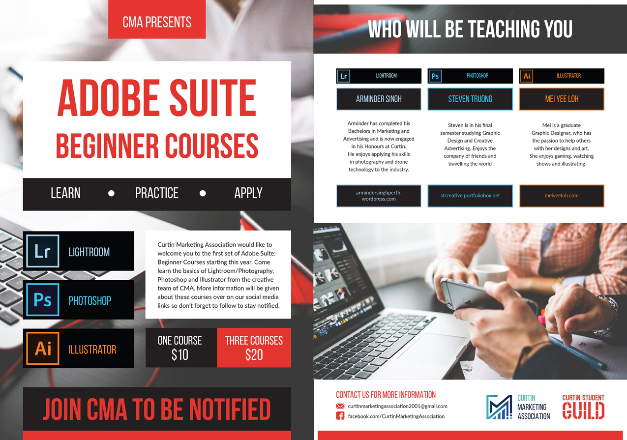 Adobe Course flyer where I was one of the teachers. (2018)
