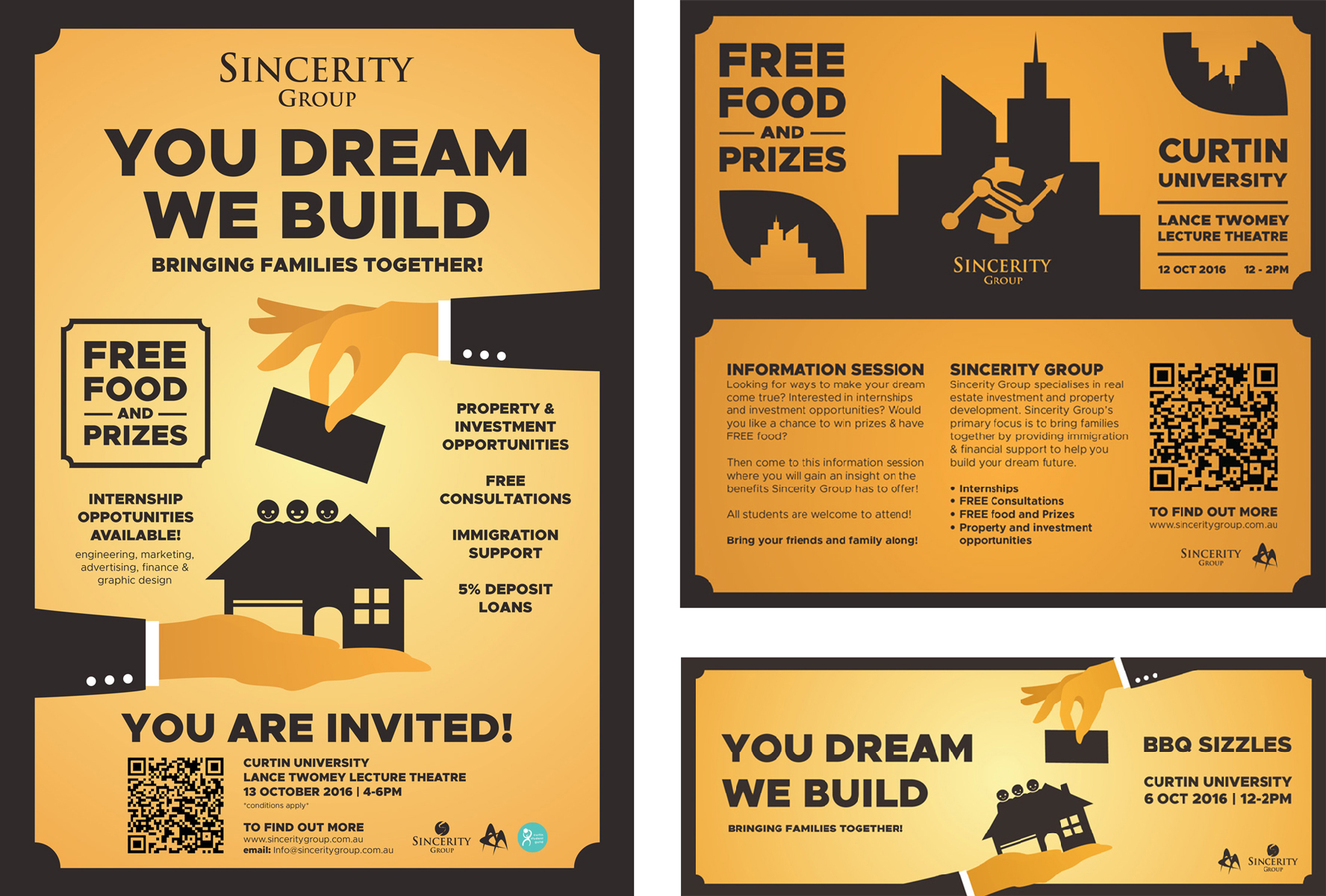 Sincerity Group promotional poster, pamphlet and Facebook banner. (2016)