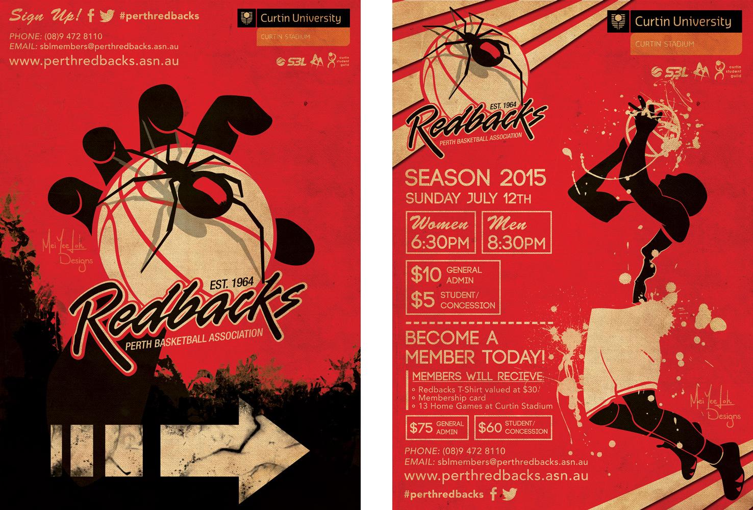 Perth Redbacks (Basketball Association) directional poster and season poster. (2015)