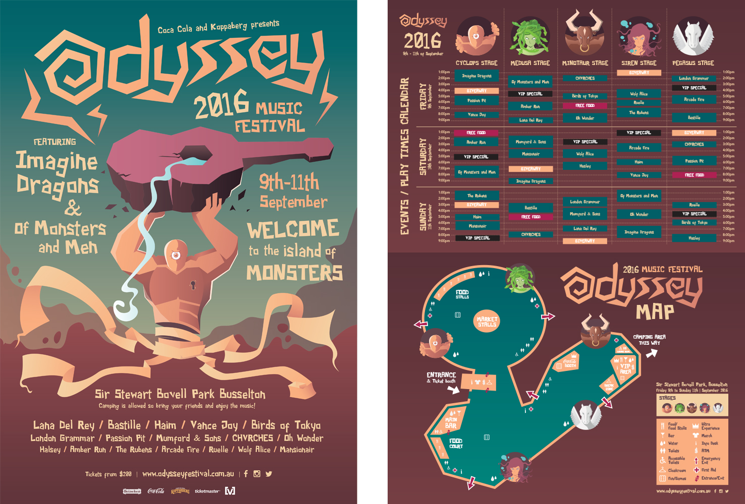 Fictional music festival promotional poster, map and show times. Uni assignment. (2015)