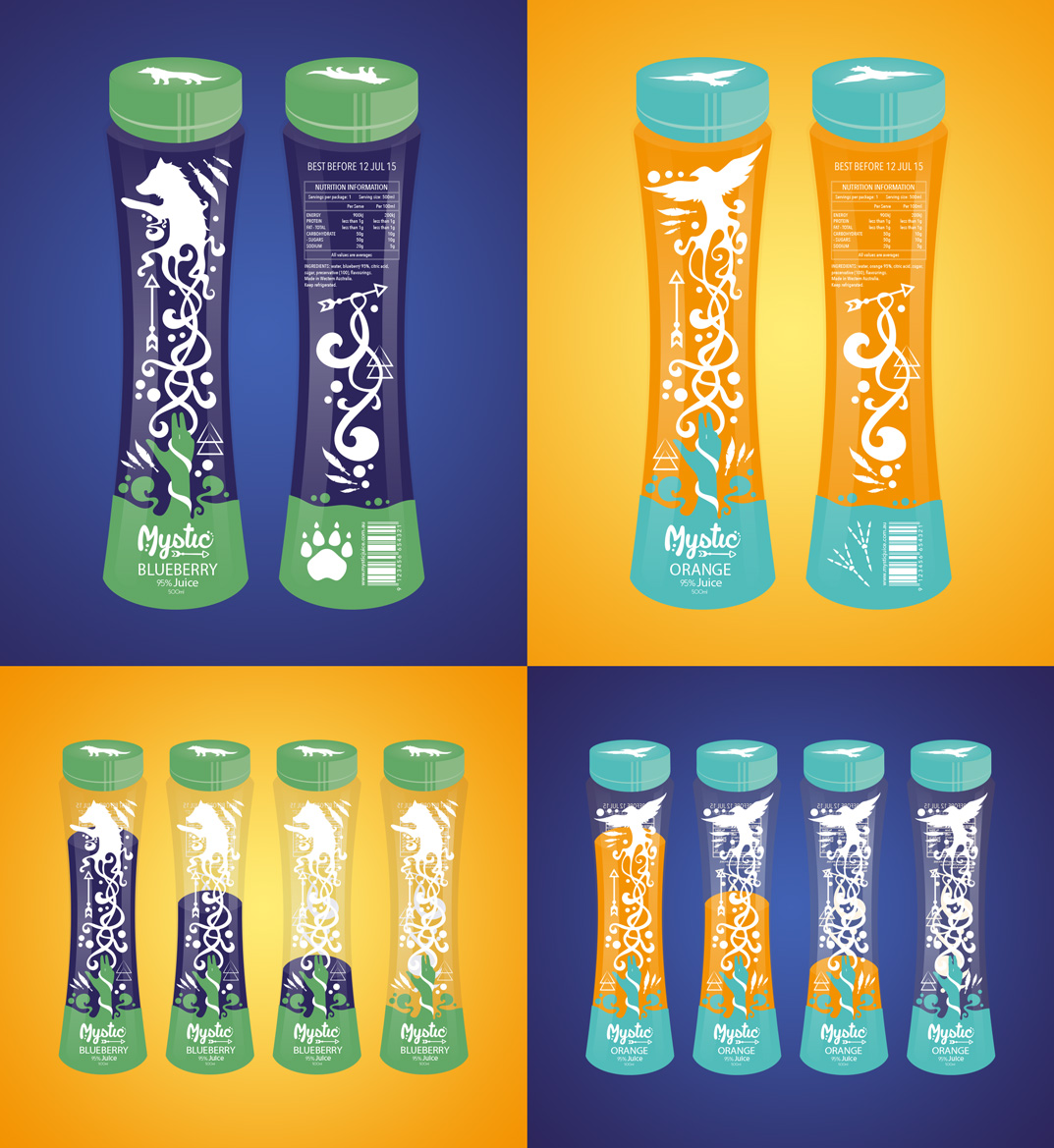 Juice bottle design. Two flavours - Blueberry and Orange. Native American atmosphere. Each animal represents a flavour and spirit guide. For people on the go, designed tall and slim for firm grip. Uni assignment. (2014)