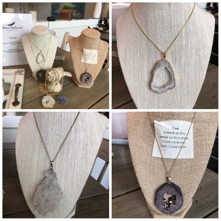 Beautiful Jewelry - Available now at Healing Your Core, beautiful Drusy Quartz necklaces $40 each.Drusy Quartz symbolizes beginning of awakening and growth. It is a good stone for reminding you to let the rose unfold itself in time. It is a good choice for anyone who feels small, unimportant or alone sometimes.
