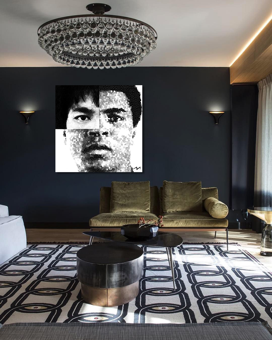 """48"""" x 48""""  This piece was inspired by a question … Muhammad Ali and Bruce Lee … Two of the greatest fighters in history … Who would win in a fight ?"""