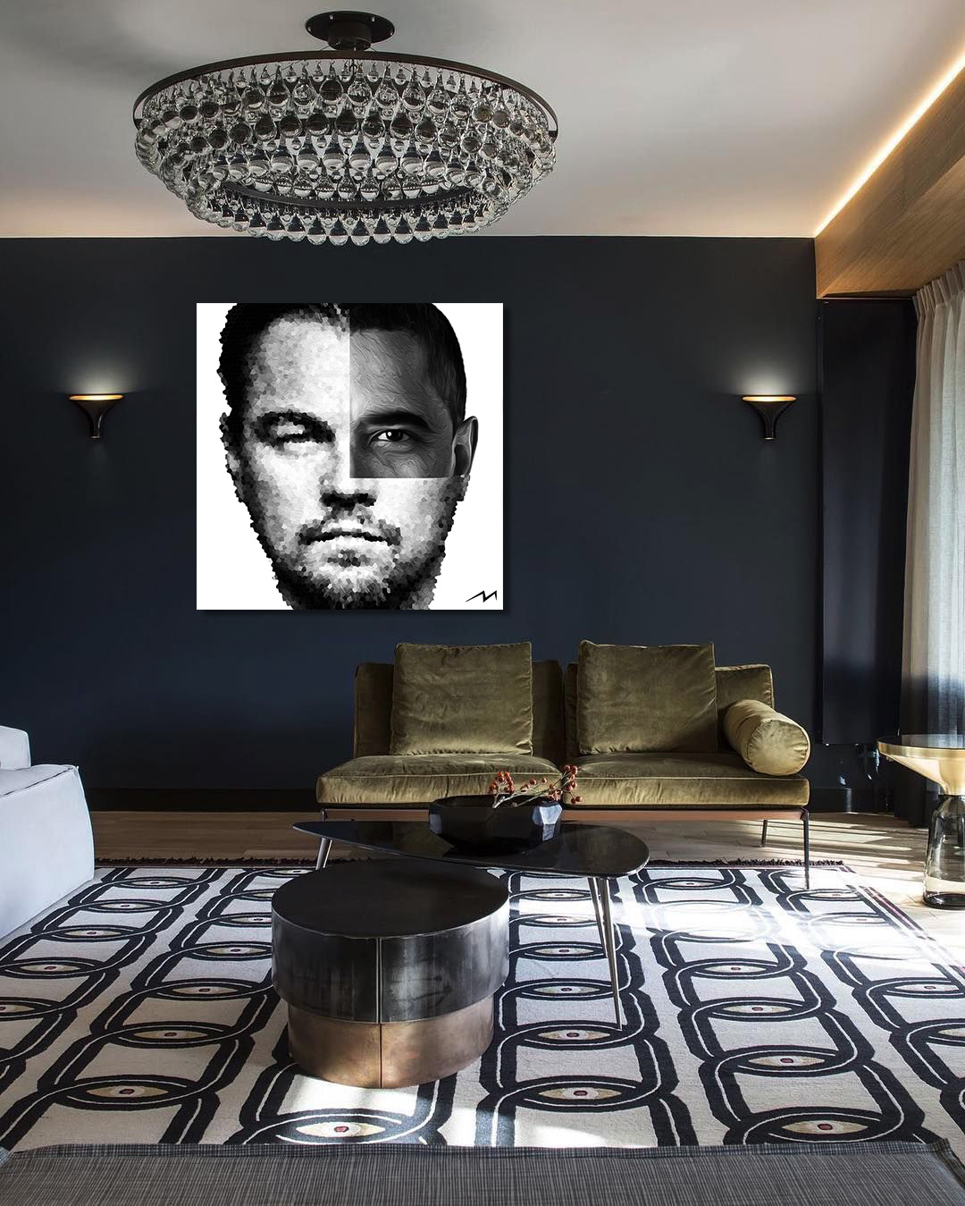 """48"""" x 48""""  This piece was inspired by a question … DiCaprio and Obama … Two of the most influential environmentalists … Whose influence will have the most effect towards saving the planet ?"""