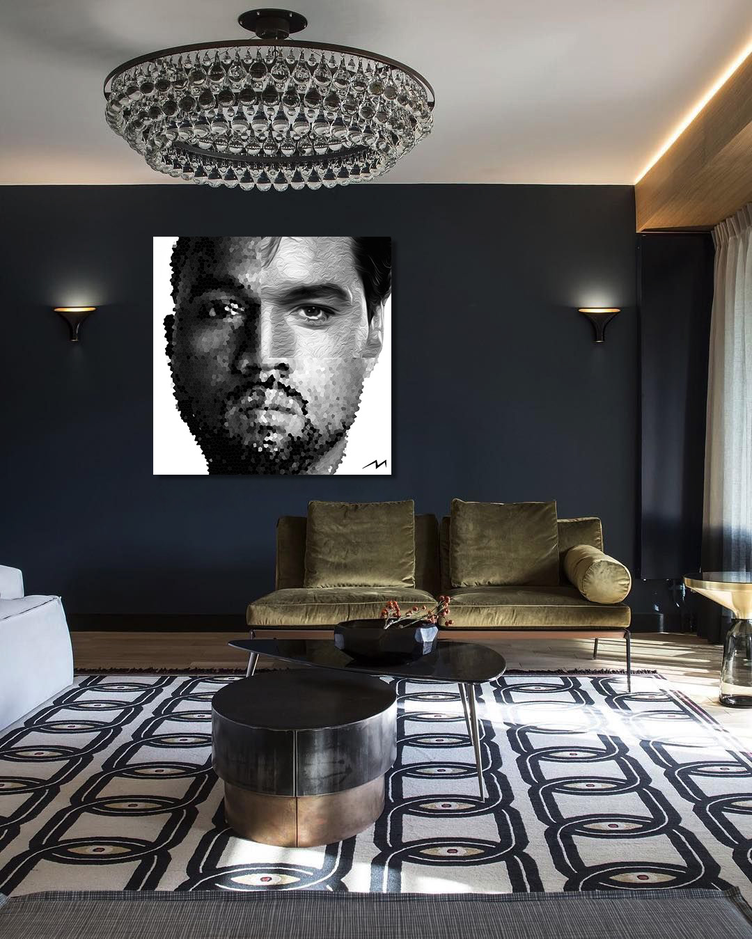 """48"""" x 48""""  This piece was inspired by a question … Kanye West and Elvis … Both self destroyed at the peak of their success … Has Kanye done enough to be as memorable as Elvis ? Will Kanye West leave a longer lasting memory or Elvis?"""