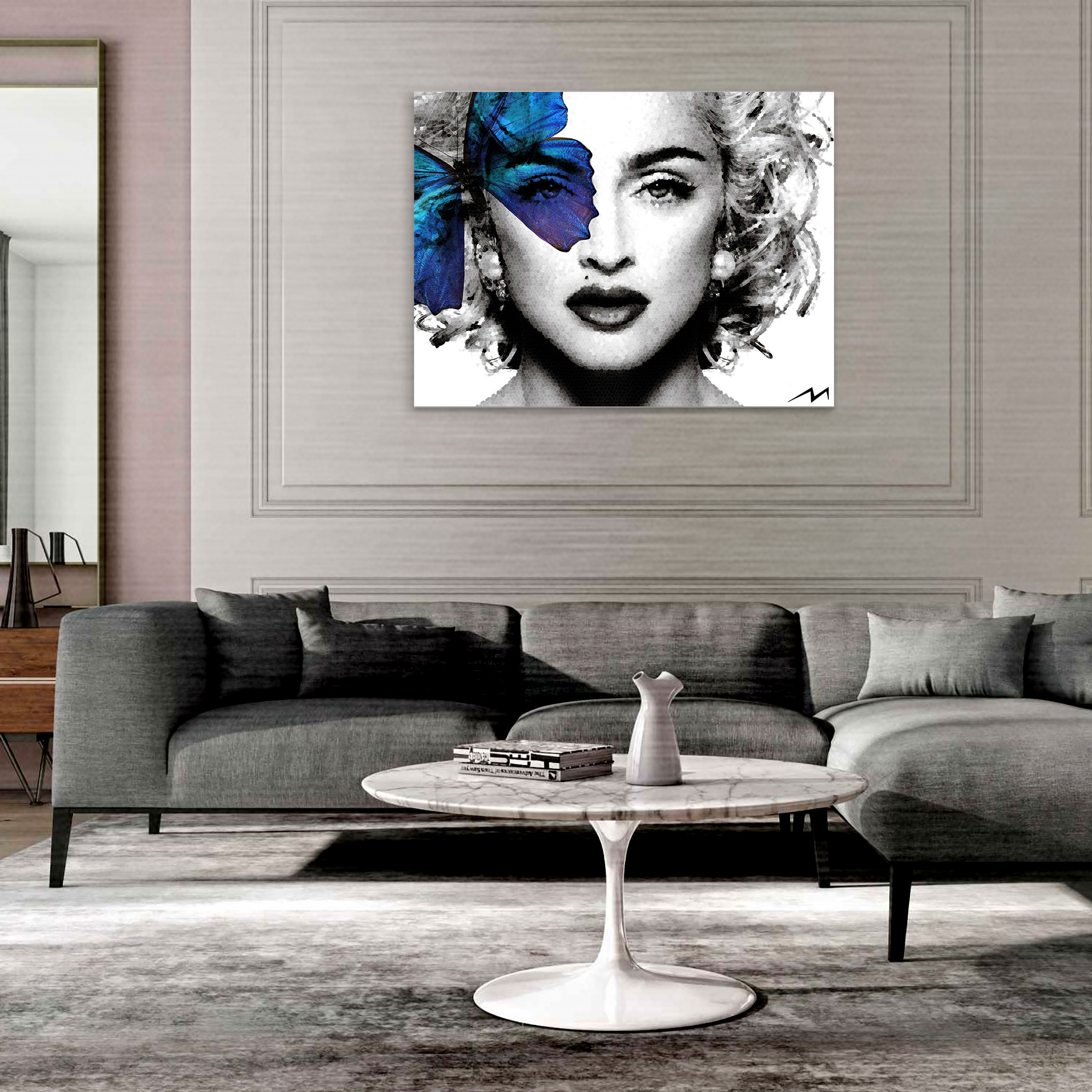 """""""MADONNA"""" - 36"""" x 48""""  Photorealism Technique on Wooden Panel, covered with Resin, Diamond Dust and 7000 Crystals."""