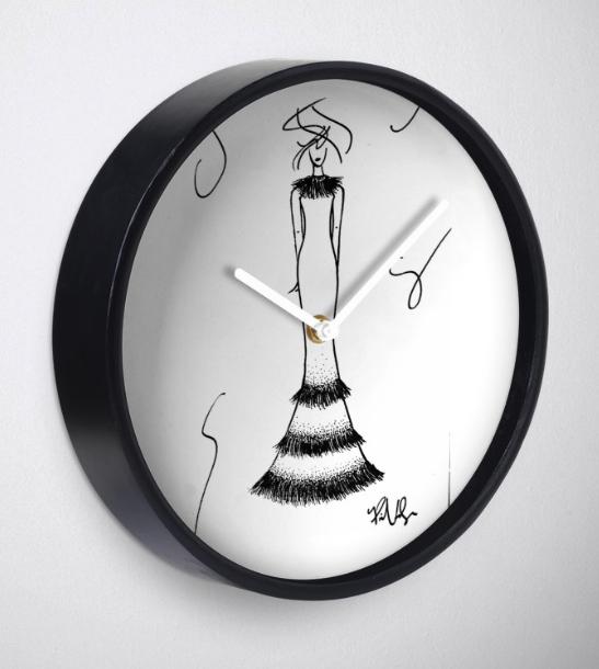 Wall Clock Fashion Illustration by VON SORELLA