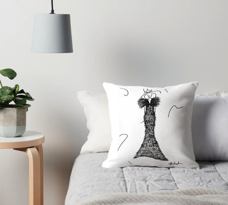 Throw Pillow Fashion Illustration by VON SORELLA