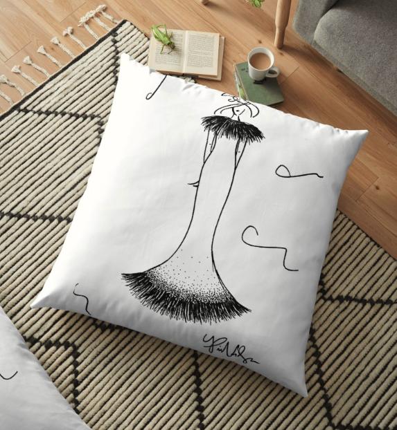 Fashion Illustration Floor Pillow by VON SORELLA