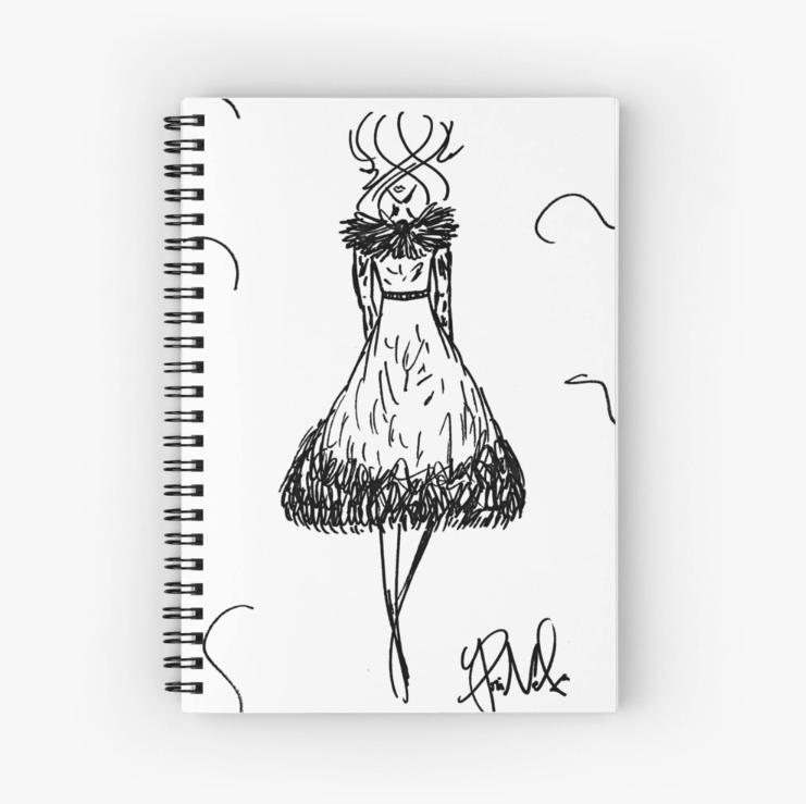 Fashion Illustration Spiral Notebook by VON SORELLA