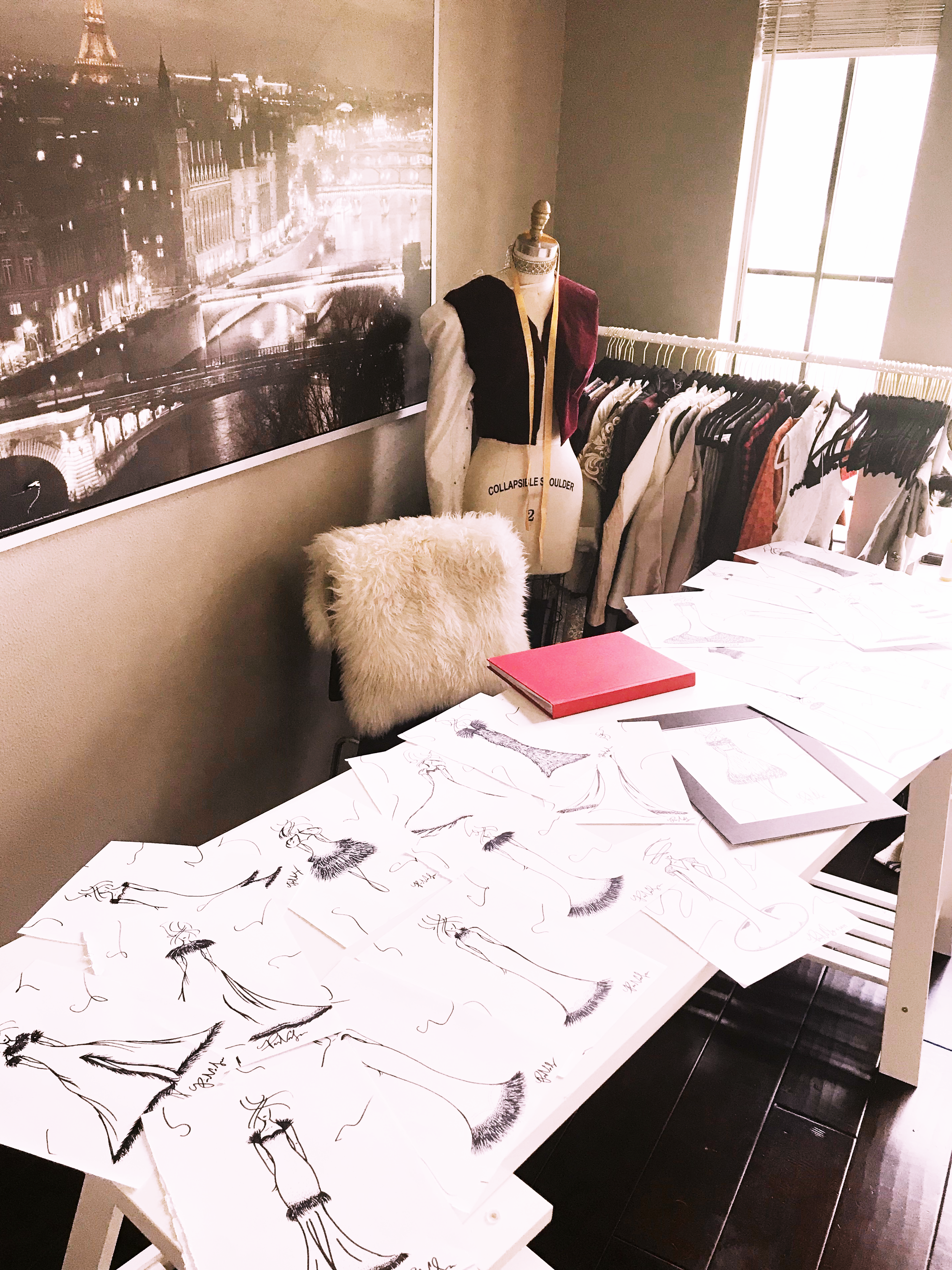 My drawing design space covered in the final 25 designs for the Resort 202 Collection.