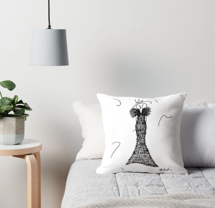 Fashion illustration throw pillow by VON SORELLA.