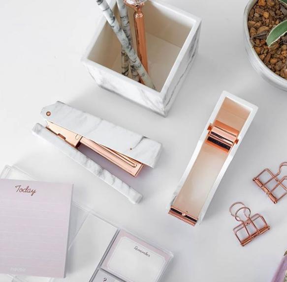 Inspiration: Marble desk supplies courtesy of  DressMyDesk