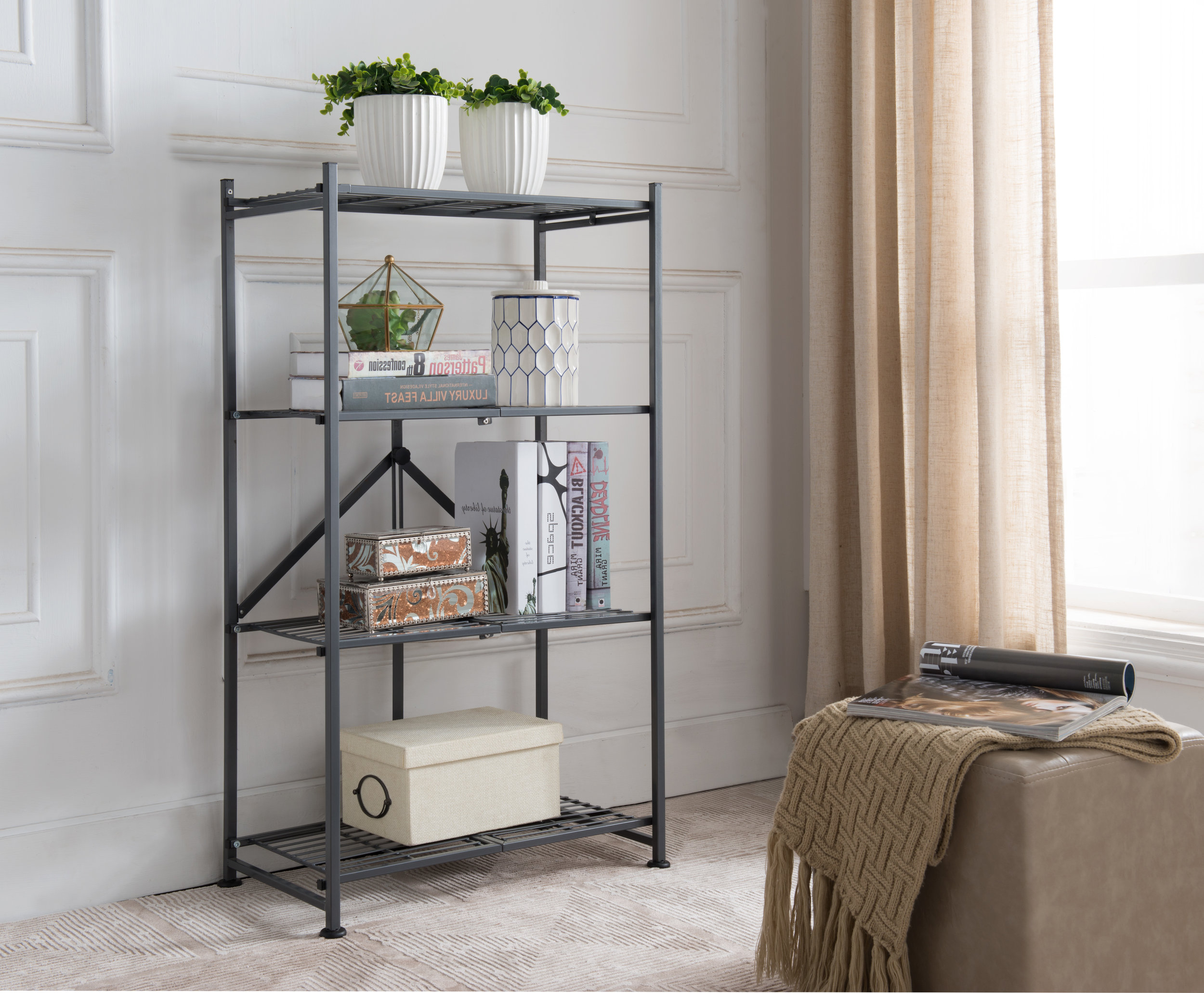Inspiration: Gray metal shelving to maximize vertical storage space.