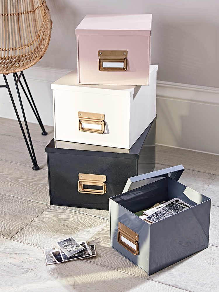 Inspiration: Metallic storage boxes via  Mad About the House .