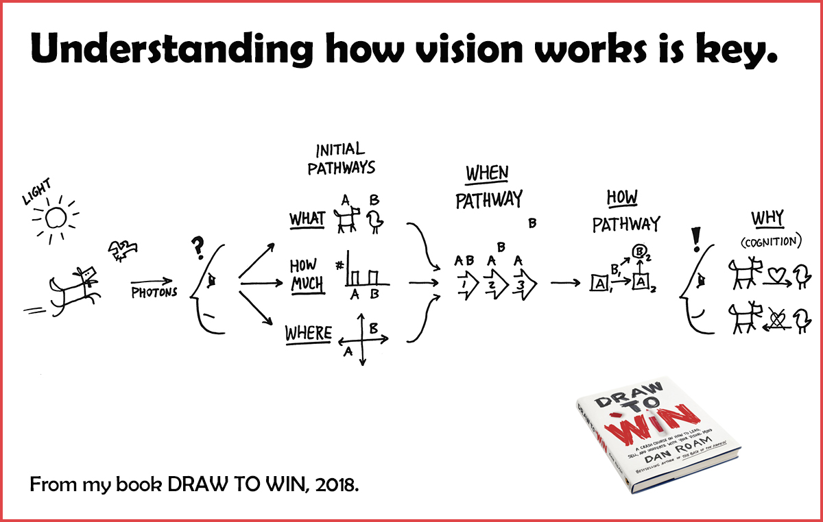 1) Speed - The human visual mind is the most powerful processing and problem-solving engine in the known universe. If you want to discover, understand, clarify, and persuade quickly, VISION is your superpower.