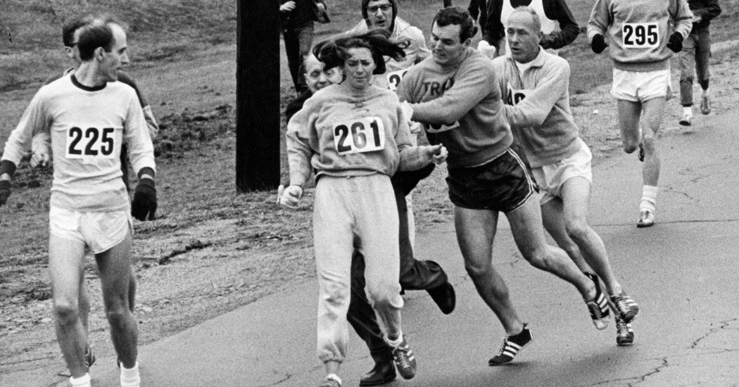 """Her name is Kathrine Switzer - The first woman to enter the Boston Marathon in 1967 who was attacked by an angry race official who was so distraught that a woman was running """"his"""" race. She ran when they told her it was impossible. She ran with a purpose. She later became an author and television commentator and the Founder of 261 Fearless, a global supportive social running network which empowers women to connect and take control of their lives through the freedom gained by running."""
