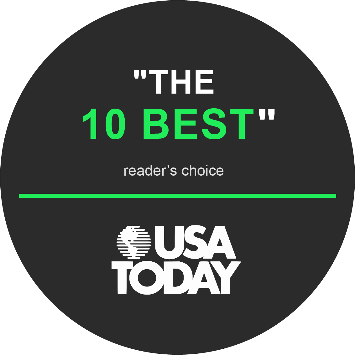"""The 10 Best"" Reader's Choice, USA Today"