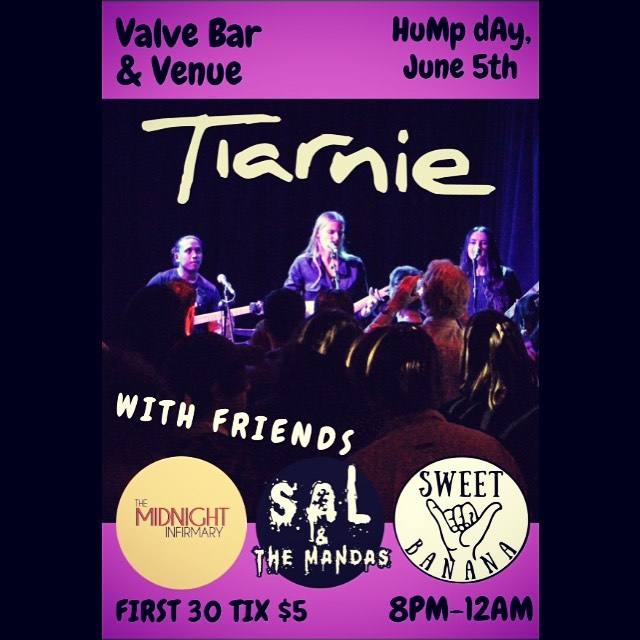 WED 5TH JUNE ! ! !  With @salandthemandas & @midnightinfirmarymusic supporting @tiarniemusic at @valvebar  #dancedancerevolution #toesucking #dankvapes #livemusic #sydney #punk #punkrock
