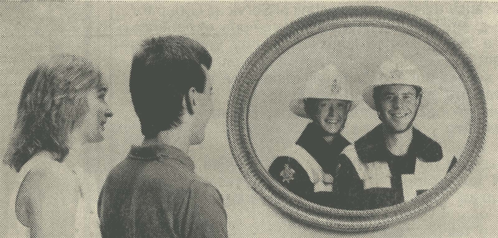 Image used in advertisement recruiting women and men firefighters in the  Sun  newspaper in 1989.