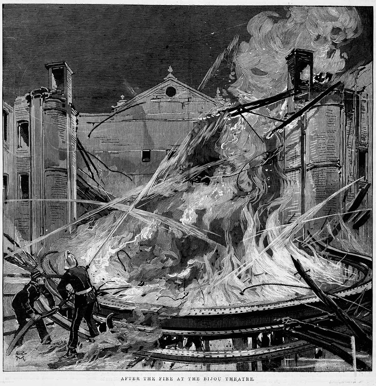 The Bijou Theatre fire in 1889 was adisaster and resulted in the deaths of twofirefighters on duty. The outcome of theinquest into those deaths found that thecurrent system of voluntary and company-based fire brigades was totally inadequateand something needed to change. IAN01/05/89/65, State Library Victoria.