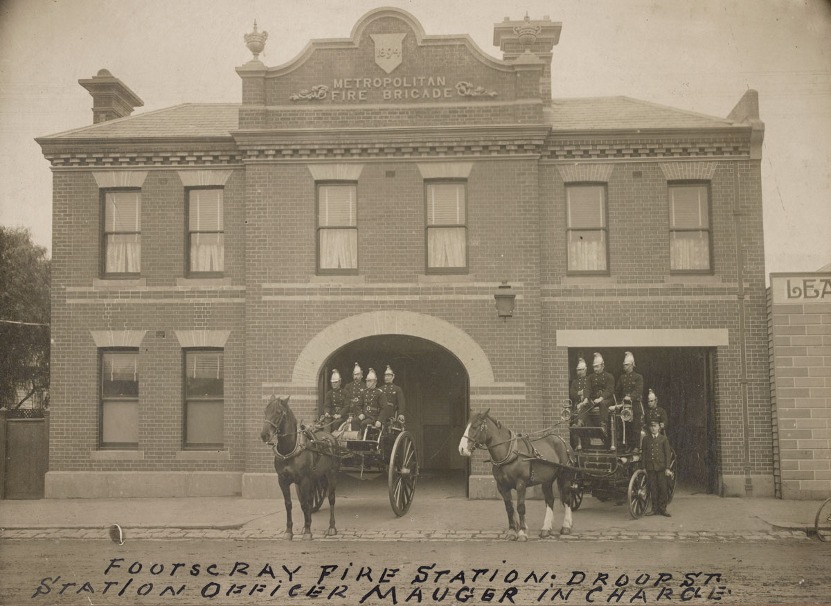 Footscray Fire Station, 1910. H15341/1 State Library Victoria.