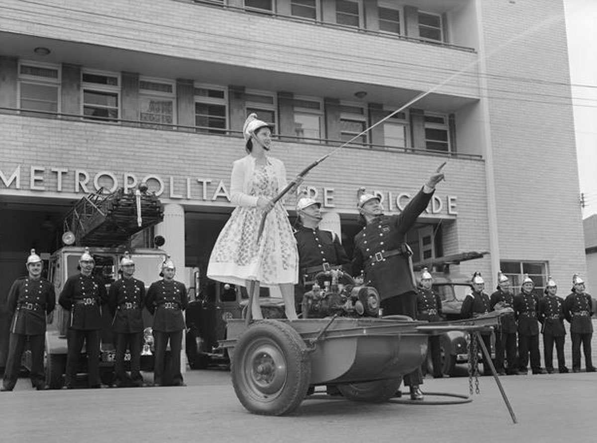 A display at Windsor Fire Station in 1959 as part of the Royal Women's Hospital Mother's Day Appeal. MM 127246, Museum Victoria Collections.