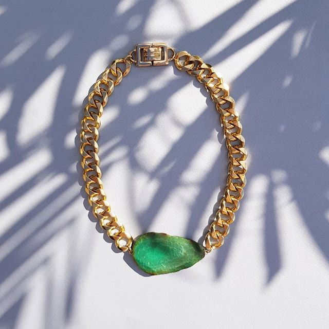 Green Agate Necklace 🌴🌴🌴 #agatejewelry #costumejewelry #goldmine #goldminejewelryno #statementnecklace
