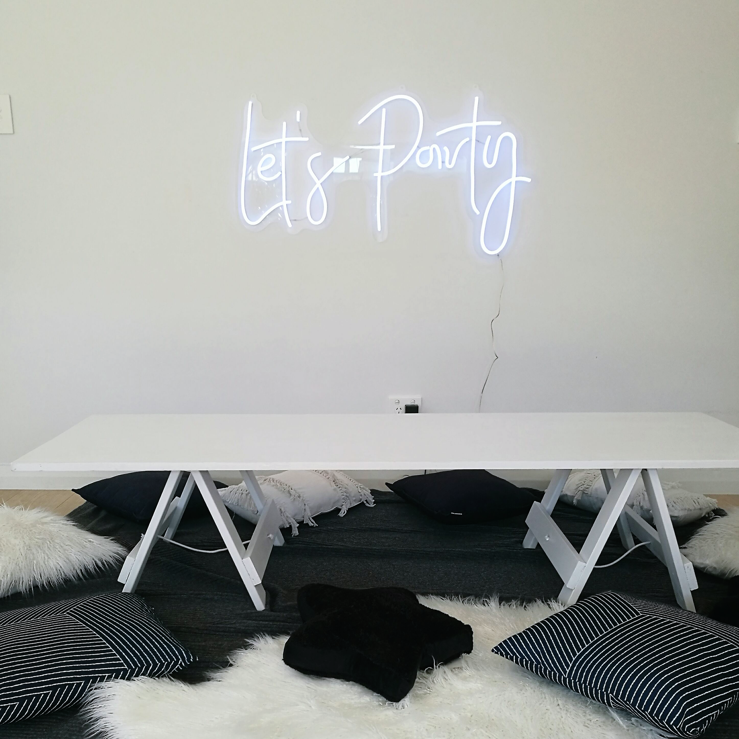 Lets party neon sign hire