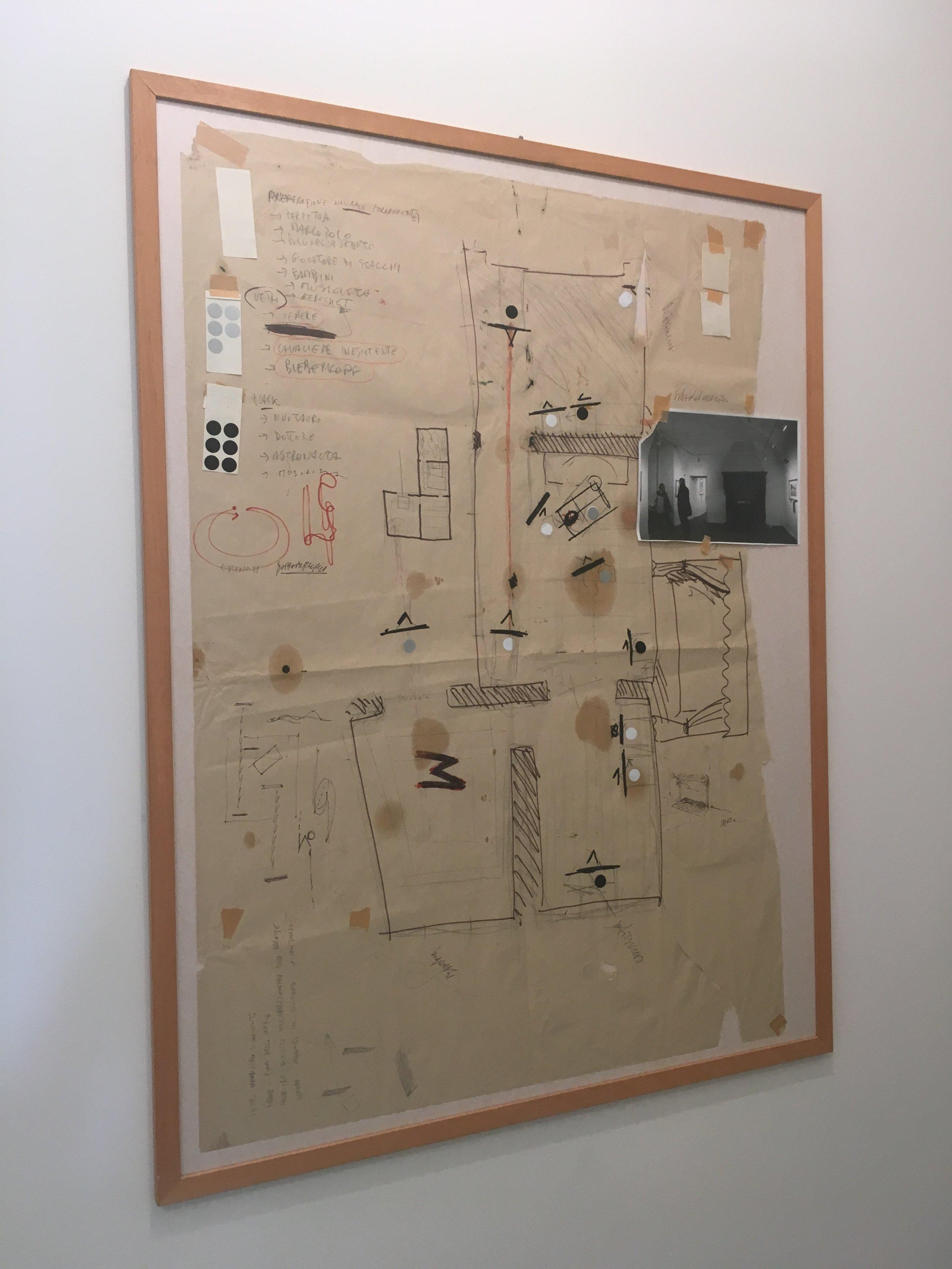 Mappa progettuale dell´allestimento de l´assassinio di venere, sondrio 2008.