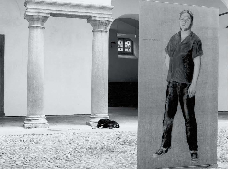 """""""ich will nur mensch sein"""" - franz bieberkopf (200x100, oil on canvas stratified in glass) and dada."""