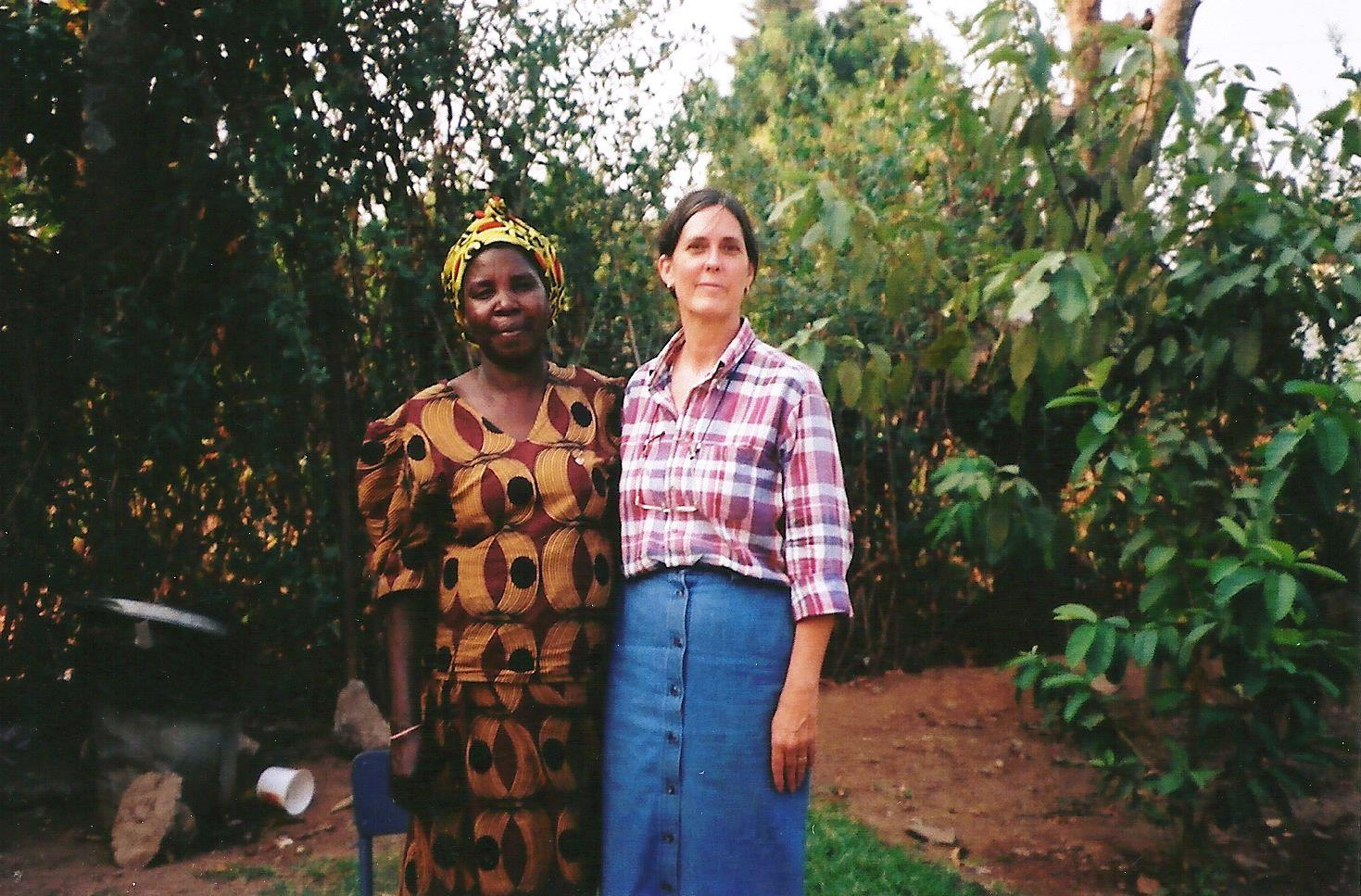 Kathe with Mrs. Makunka, who came to visit in 2001 to see if we could help her as she was trying to raise 22 grandchildren.