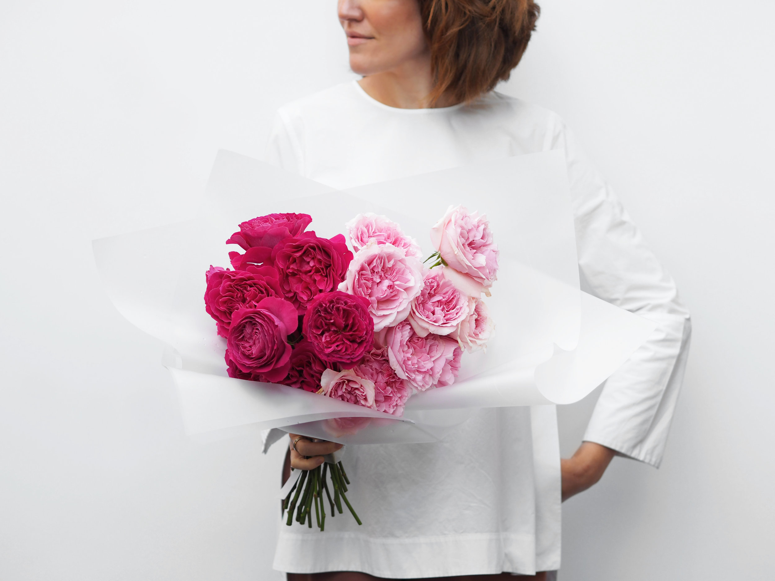 No. 5 - A mono bouquet of fragrant David Austin roses. These large peony-like roses are known for their fluffy lushness, size and intricate colour.