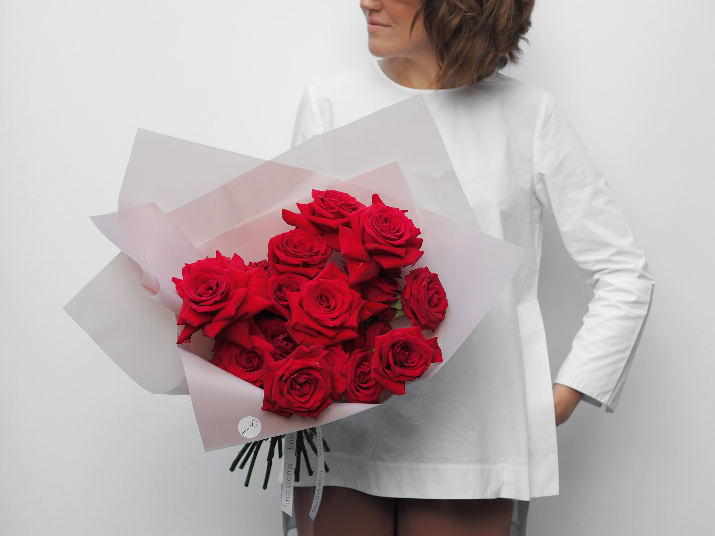 No. 6 - A mono bouquet of fragrant deep red roses. Red roses are the true symbol of romance and the soft velvety texture gives a beautiful matt sheen.
