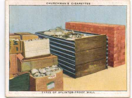 Cigarette card showing types of protection that could be used to reinforce cellars and refuge rooms against bomb splinters