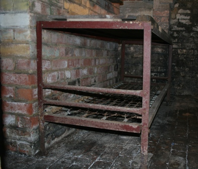 The frame of the Morrison shelter in the cellar at 49 White Street