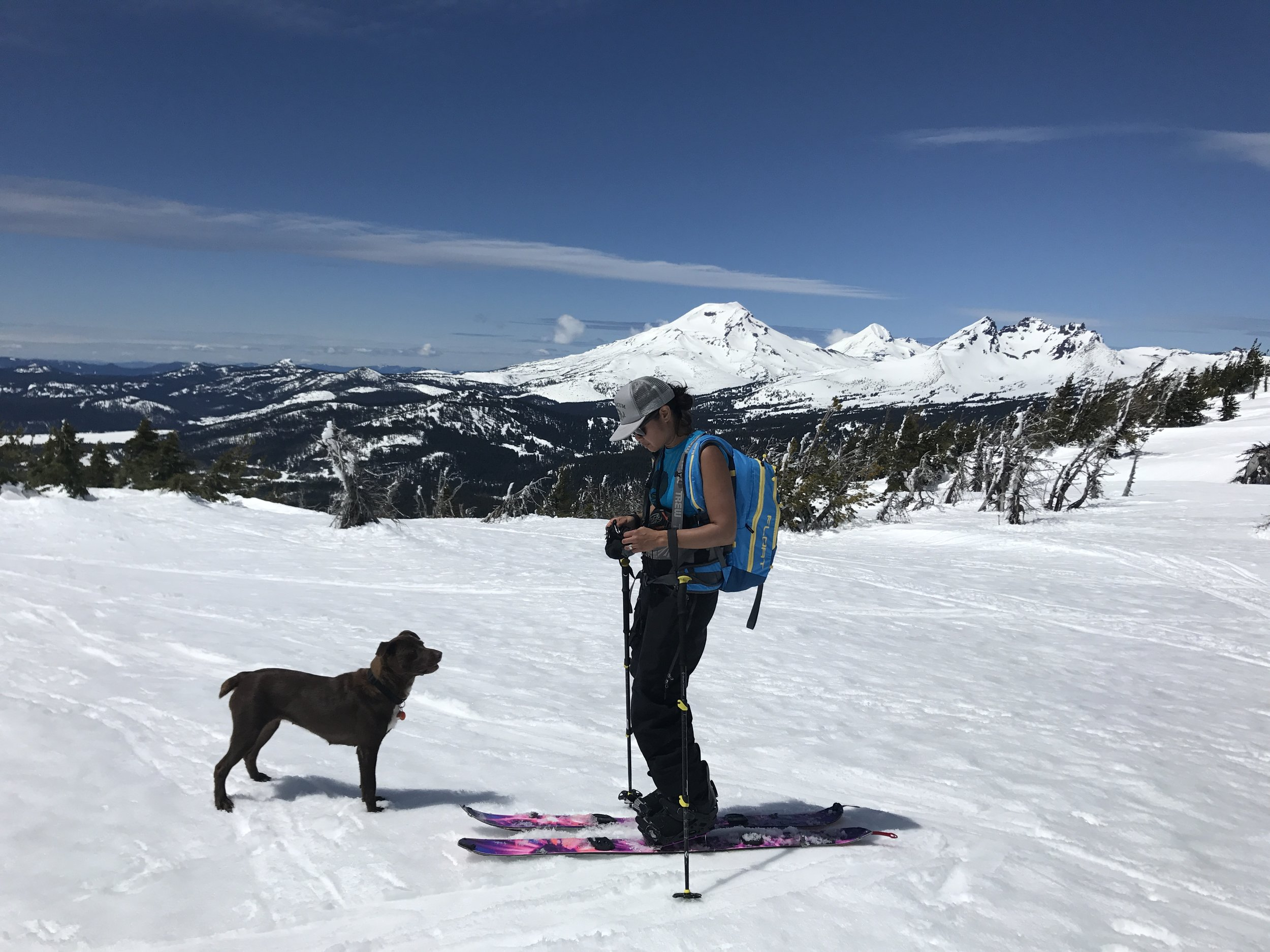 Did a little tour up Mt. Tumalo, with Rosa, who we had rescued just a couple months earlier. The Sisters in the background.