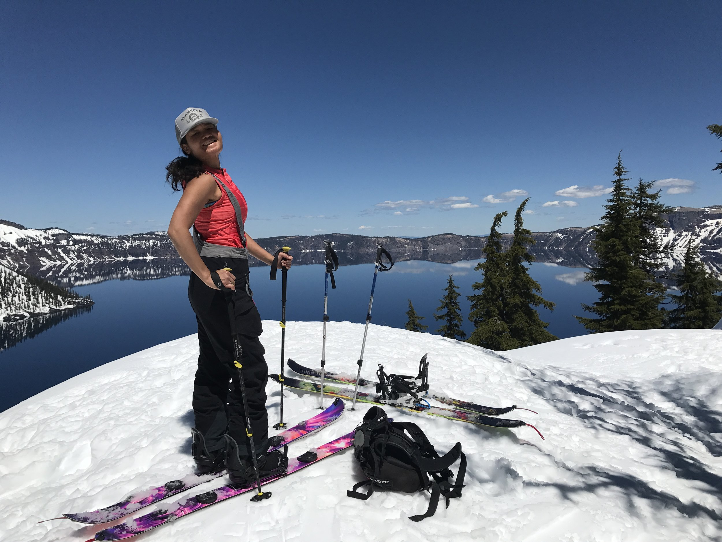 Snow conditions around Crater Lake were pretty crap, but the view was beautiful. So, not so much downhill riding, but super enjoyable circumnavigating the lake on skins.