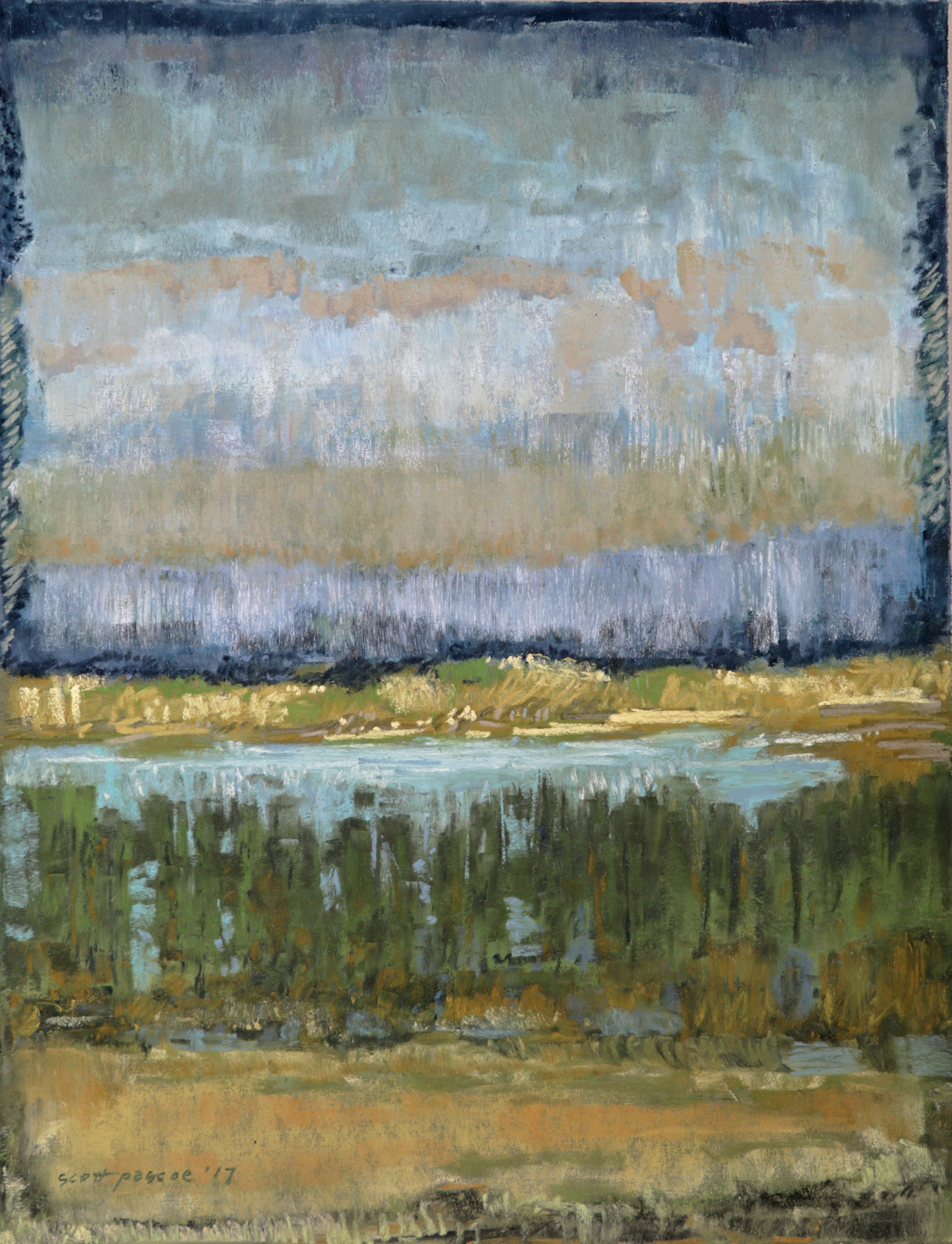 Estuary through Trees 16x12 Soft Pastel - SOLD