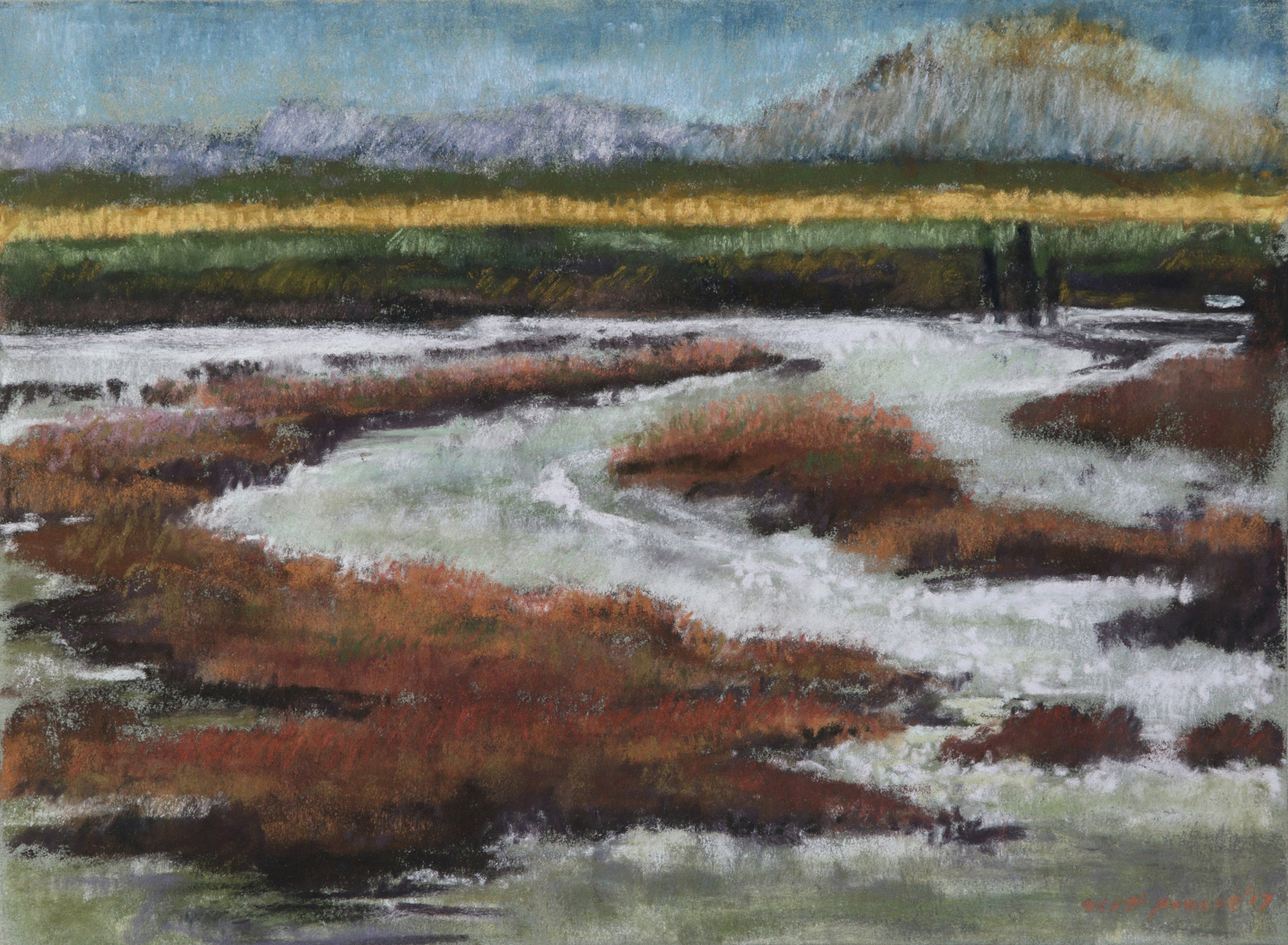 Skagit Slough Outgoing Tide 12x16 Soft Pastel