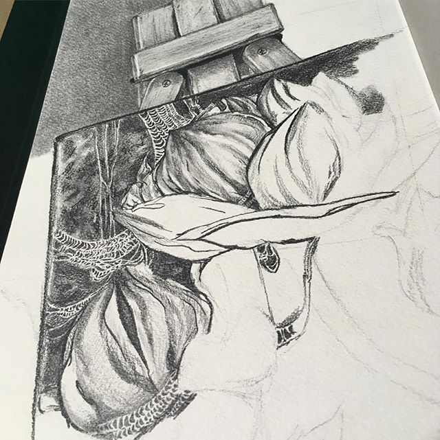 Working on my class mid term and I feel like I work so slowwww Drawing one of my paintings has proven to be quite a challenge x.x Especially with all those spider websssss Pray for me #art #instaart #artgram #yusmila #cool #paint #painting #graphite #pencil #midterm #artclass #drawing #realism #flowers #easel
