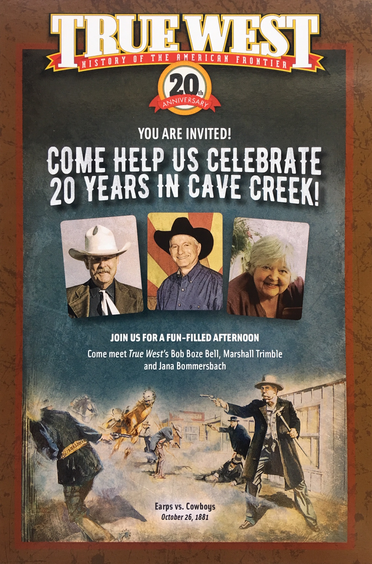 You're Wanted - Come on over to the Desert Foothills Library in Cave Creek and celebrate the 20th Anniversary of True West Magazine being in the best damn town in the West! Come meet True West's Bob Boze Bell, Marshall Trimble and Janna Bommersbach – each will tell a tale or two straight out of the Old West.Seating is limited: RSVP at https://dfla.org/events/true-west/ or call 480-488-2286