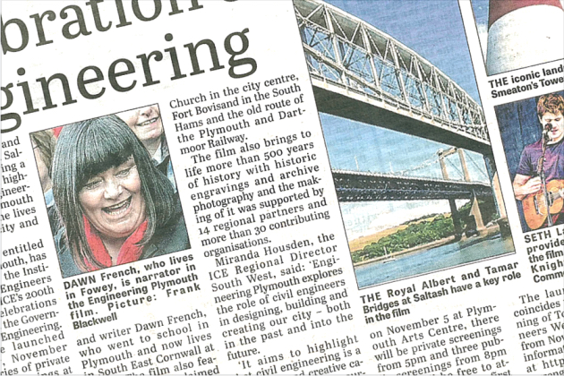 "CORNISH TIMES COVERAGE - 2 Nov 2018The Cornish Times featured Engineering Plymouth quoting ICE SW Director Miranda Housden who said:""Engineering Plymouth' explores the role of civil engineers in designing, building and creating our city – both in the past and into the future. This truly collaborative production has bought together the community to show both the history, and the future, of this city that we all love.""This Cornish Times article is not available online. Read the full story here."