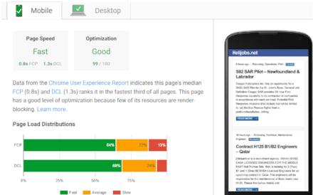 Helijobs.net analyzed by Google PageSpeed