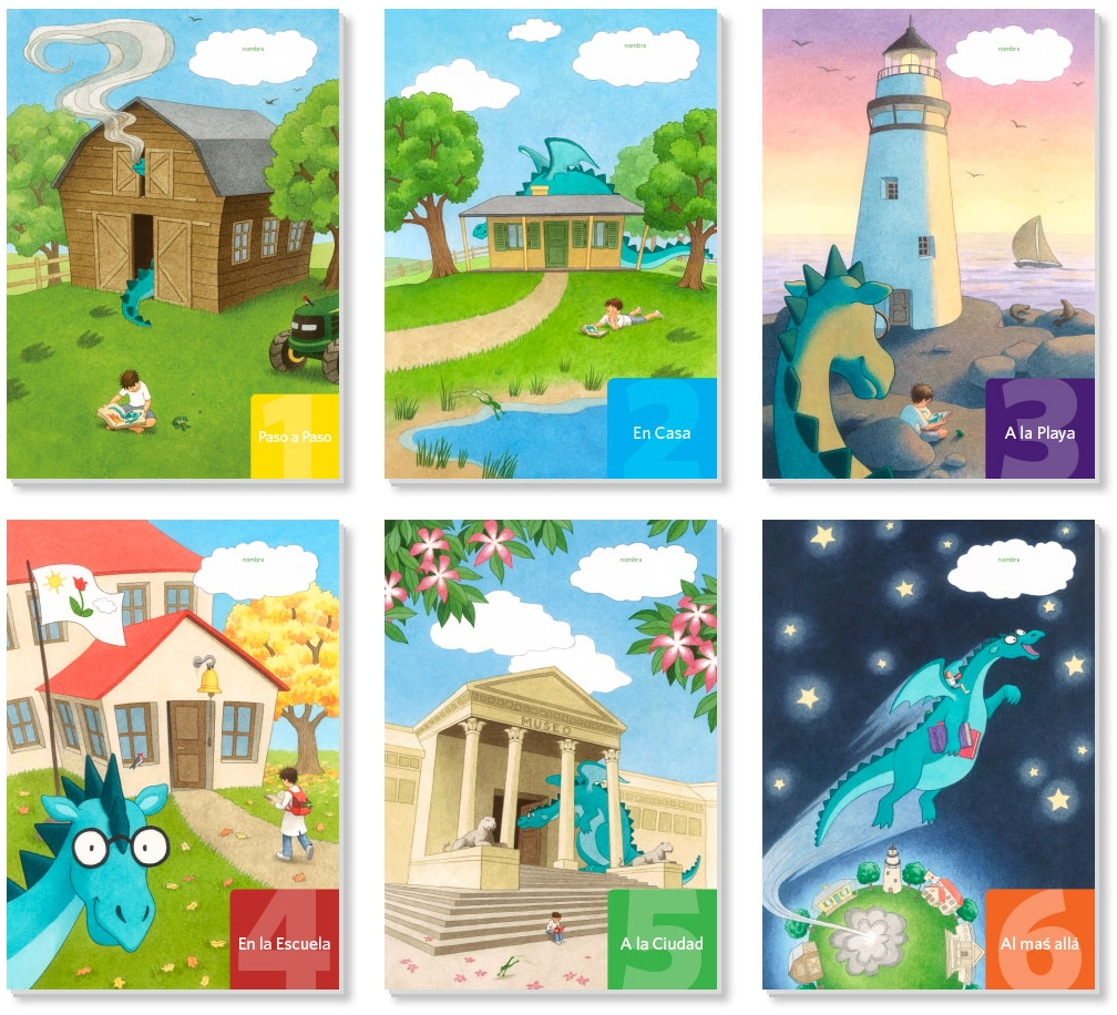 Covers of the six workbooks show our shy dragon gradually coming out of his shell through reading!